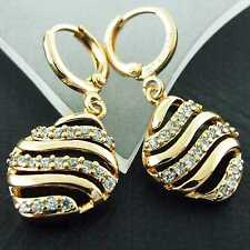 FS885 GENUINE 18K YELLOW G/F GOLD SOLID DIAMOND SIMULATED HOOP DROP EARRINGS
