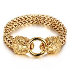 Franco Cuban Chain Bracelet + Box #B362 Mens Stainless Steel Gold Twin Lion Head