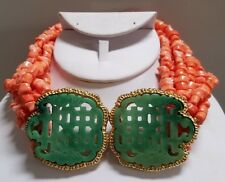 KENNETH J LANE FAUX JADE & CORAL LUCITE NECKLACE - RUNWAY CHUNKY