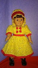 """Handmade for 18"""" American Girl doll Yellow with colorful specks with Red trim"""