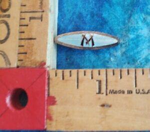 """Vintage Brass & Pale Blue Enamel Cloisonne Bamboo Design Could Be """"M"""" Tie Clip"""