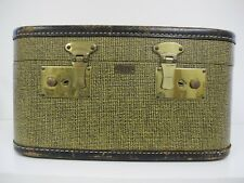 VINTAGE Black/Tan HARD SHELL MAKEUP TRAIN CASE~ LUGGAGE TRAVEL EZE TWEED LEATHER
