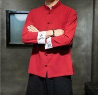 Herrenmode Chinesisch Jacke Hemd Blusen Langarm Stehkragen Retro-Stil Freizeit