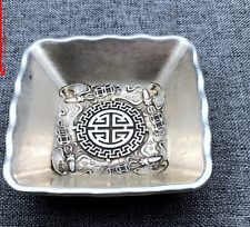 Old China delicate Hand engraving Tibetan silver Loong Bixi plate