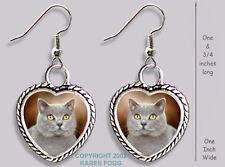 British Shorthair Cat - Heart Earrings Ornate Tibetan Silver
