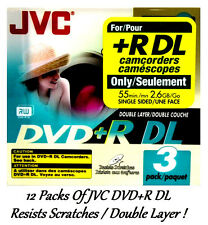 12Pk JVC DVD+R DL Double Layer FOR +R DL Camcorders 55min 2.6GB Each VP-RDL26GU3