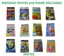 Hallmark Birthday invites and Thank you Cards sealed packs of 8 *NEW* VTG Retro