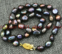 """Natural 7-8mm Black Freshwater Baroque Pearl Necklace 18"""" AAA++"""