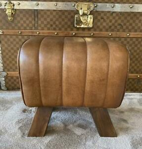 Brown Leather Stool / Footstool Wood Legs Pommel Horse Style Retro Vintage