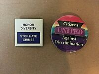 Honor Diversity Stop Discrimination 2 Buttons Pinbacks Collectibles FREE ship