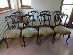 Set Eight Victorian Rosewood Dining Chairs