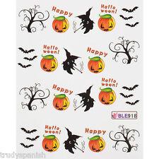 Halloween Nail Art Water Decals Transfers Bats Spiders Pumpkins Gel Polish 918