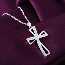 925 Silber Anhänger Silberkette AAA+ Zirkonia Kreuz Strass Kristall Halskette