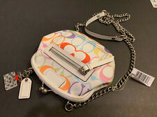 NEW COACH PERFUME PRINT Multi-Colored SIGNATURE C Framed COIN PURSE Bag 41426
