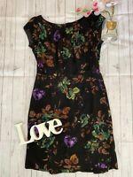 Hobbs Size 12 black 100% wool floral smart work office business career dress