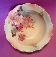 9 1/2 In Schumann Arzberg Bowl - Wild Rose Blush Gold Accents - Bavaria Germany