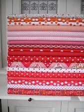 10x Stoff großes Stoffpaket ROT Orange Tupfen Streifen Stoffe Patchwork Shabby
