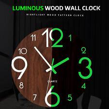 "12"" Luminous Silent Non Ticking Wooden Glow In Dark Home Decor Quartz Wall Clock"