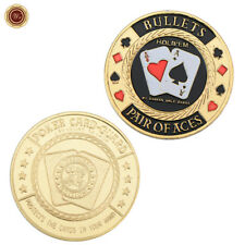 WR BULLETS - PAIR OF ACES Gold Color Poker Card Guard Protector Casino Coin 24K