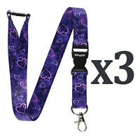 Pack of 3 Multicolour Lanyards Neck Straps with Violet/Purple Hearts Pattern