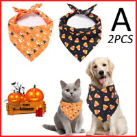 Pet Bandanas for Dogs Cats Triangular Bibs Scarf with Halloween Pattern for Pupp