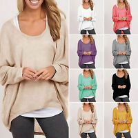 Womens Plus Size Long Sleeve Pullover T-shirt Loose Baggy Casual Tops Jumper Tee