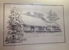 Vintage Marina Ahun Princeton New Jersey Ink Drawing of House Mercer County