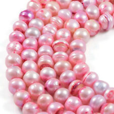 "Freshwater Pearl 9x10mm Pink Pearl Potato Jewellery Making Beads on 16"" Strand"