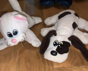 Vintage 1985 White/Brown Pound Puppies And White Striped Pound Pur-r-ries Plush