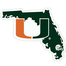 Miami Hurricanes Home State Vinyl Auto Decal NCAA Licensed (Florida Shape)
