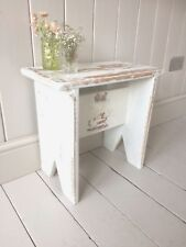 Wooden Stool Bench Side Table Shabby White Vintage Style Handmade Solid Pine