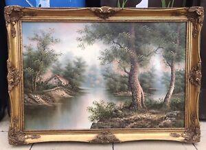 Very Large Gold Gilt Framed Oil Painting Artwork By Artist I Cafieri
