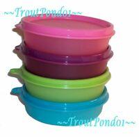 TUPPERWARE Set 4 Lunch Box Little Wonder Bowls Small Dish Purple Green Pink Blue