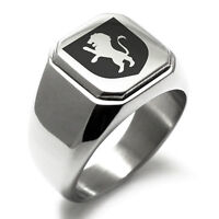 Stainless Steel Courage Coat of Arms Shield Mens Square Biker Style Signet Ring