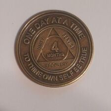 aa bronze alcoholics anonymous 4 month sobriety chip coin token medallion