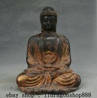 "6,4"" Ancien Tibet Bouddhisme Bronze Doré Sakyamuni Tathagata Bouddha Statue"
