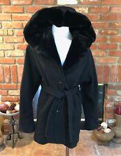 Donnybrook Vintage Wool Black Dressy Belted Oversized Hood Hooded Coat size 4