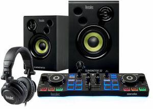 Hercules DJ Starter Kit with Controller, Active Speakers, Headphones Serato Lite