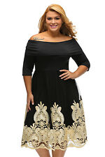 Yellow Lacy Embroidery Tulle Skirt Black OffShoulder Skater Dress 16 18 20 22 24