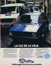 PUBLICITE ADVERTISING 114 1979 VOLKSWAGEN Golf la clé de la Ville