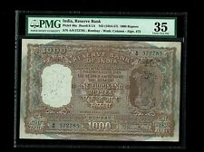 India | 1000 Rs (1954-57) | B RamaRau | Incorrect Hindi | Pmg-35 | P46a