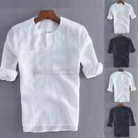 Men's Vintage Linen Henley T-shirt 3/4 Sleeve Casual Shirts Blouse Tops Holiday