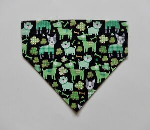 ST. PATRICK'S DAY GREEN DOGS ON BLACK DOG OVER THE COLLAR SCARF/BANDANA--S, M, L