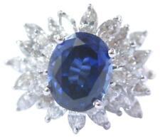 Ceylon Sapphire & Marquise Diamond Ring Solid 14KT Yellow Gold 6.26Ct 14Kt F/VS