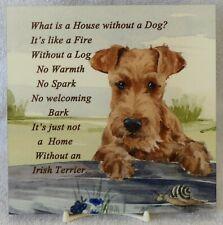 IRISH TERRIER PUPPY DOG GLOSSY HARDBOARD PLAQUE TILE SANDRA COEN ARTIST PRINT