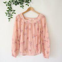 LC Lauren Conrad Womens Square Yoke Long Sleeve Floral Print Peasant Top XS Pink