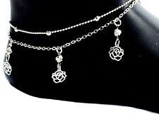 Chain Adjustable Design Boho Silver Ladies Girls Flower Anklet Ankle Bracelet