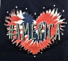 "NWT Arizona Jean S/L Top, Glitter ""#America"" on Peach & Navy, Girl's Size 16 XL"