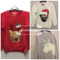 Primark Kids Girls Christmas Knitted Unicorn Pug Reindeer Sequence Jumper Top