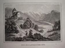 Hallstädter See Salzkammergut Österreich  seltener echter alter Stahlstich 1842